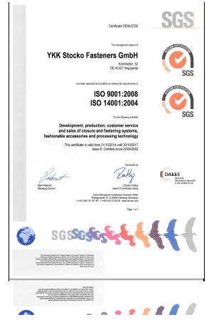 Zertifikat ISO Englisch YKK