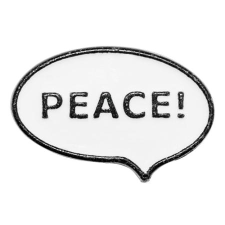 Knopf 29035 Peace schwarz-weiß