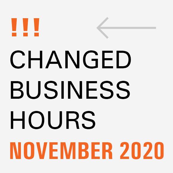 Changed business hours in November Beitragsbild